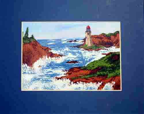 art quilt with lighthouse and ocean