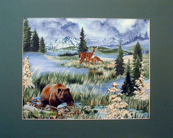 matted art quilt with bears