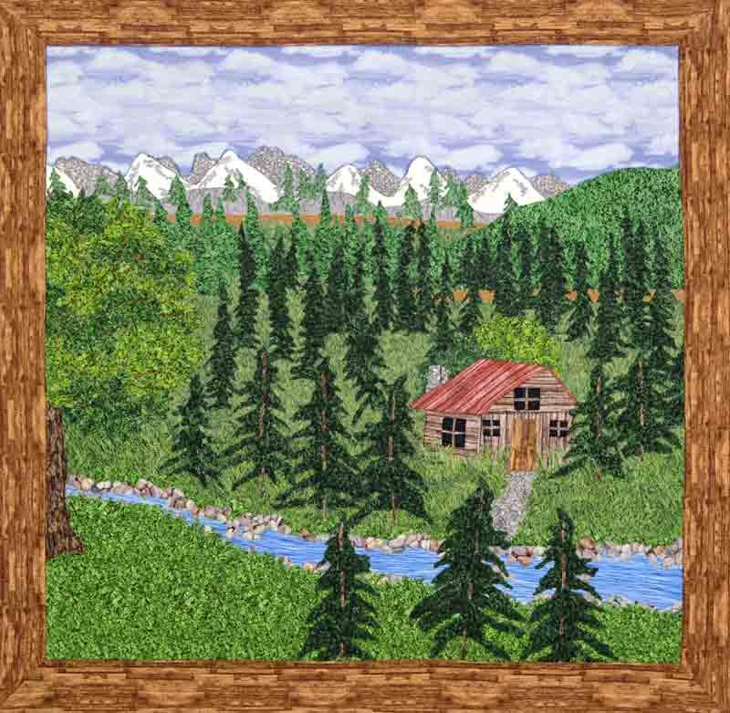 Cabin in the Woods, landscape quilt by Joyce R. Becker