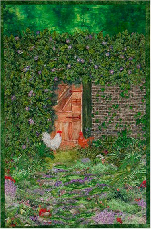 Landscape quilt with chickens by Joyce R. Becker