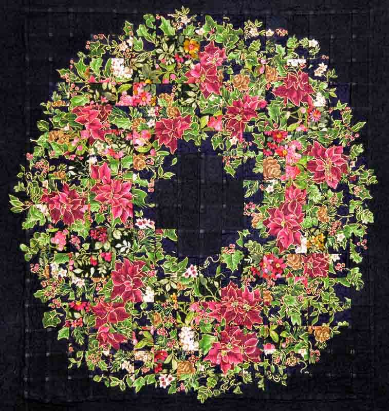 watercolor quilt of a Christmas wreath