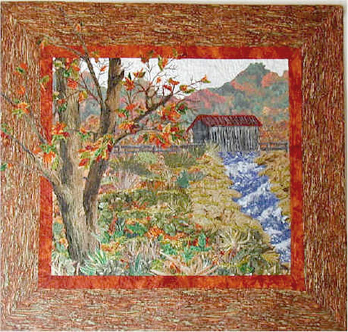 fiber art covered bridge autumn scene