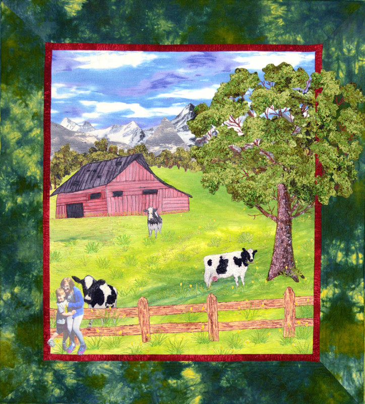 farm scene, barn and cows in an art quilt
