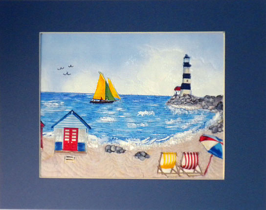 beach scene art quilt, matted