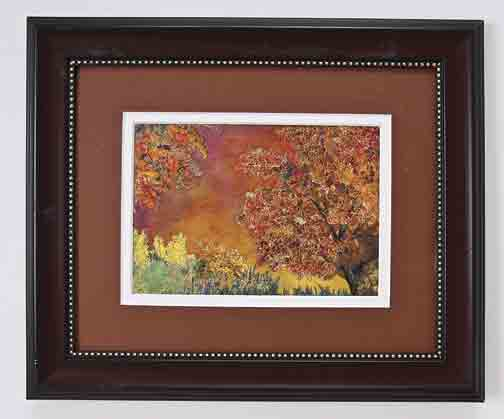 embroidered fall scene art quilt