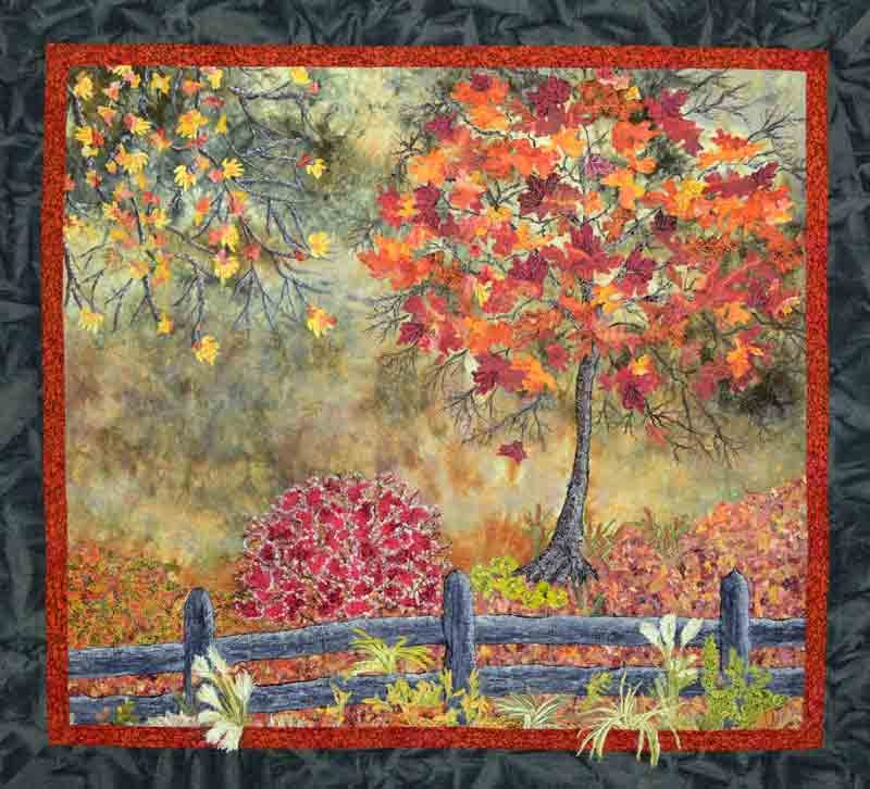 painted, embroidered and hand-dyed landscape quilt