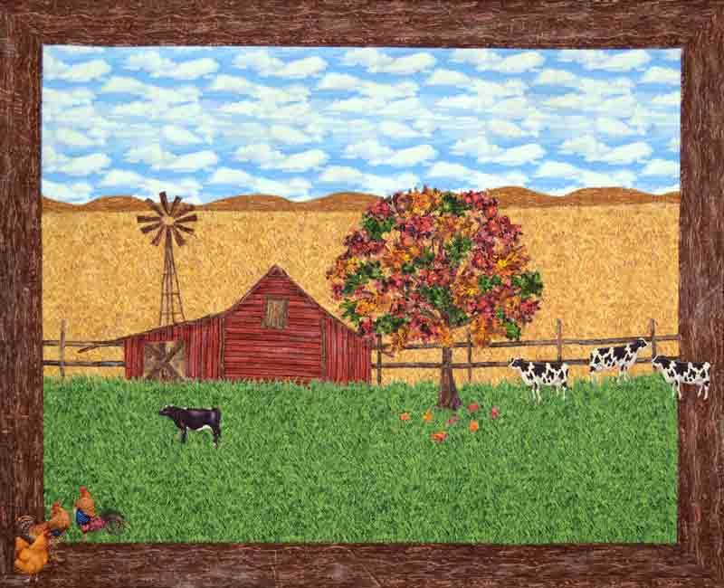 cows, roosters,  barn and windmill - autumn landscape quilt