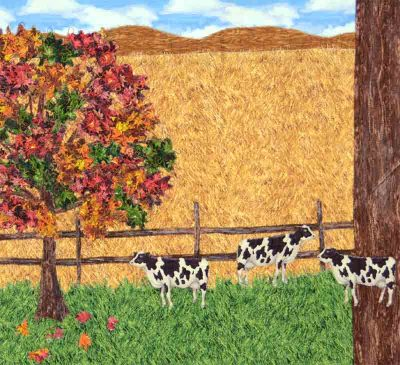 Autumnal landscape quilt with cows and chickens