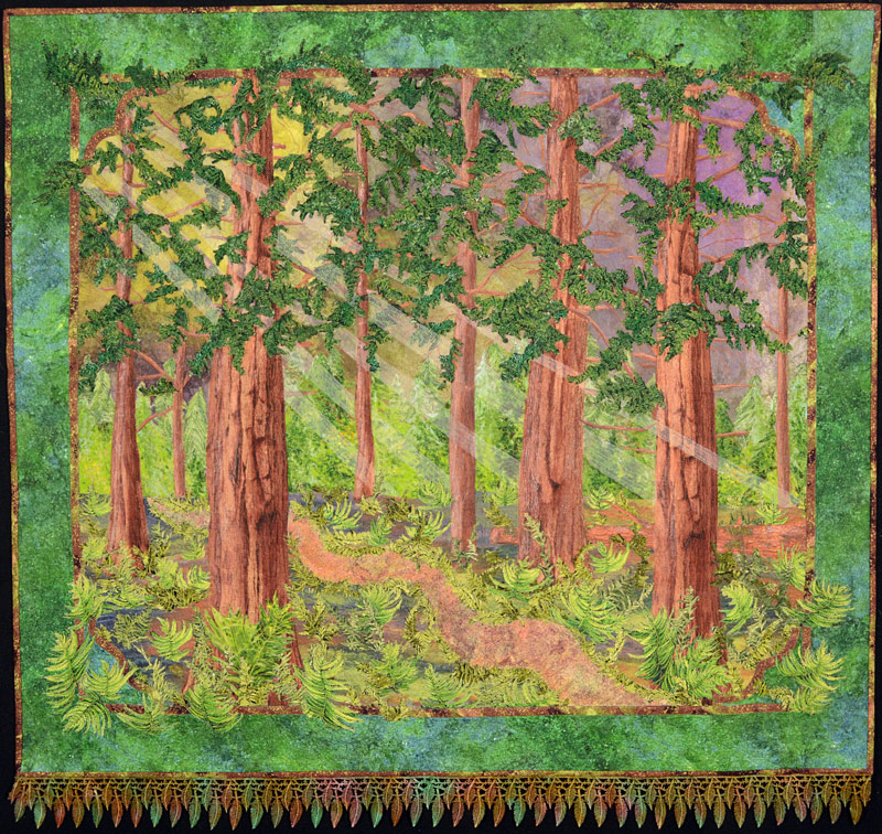 redwood trees in landscape art quilt