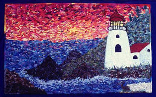 lighthouse art quilt