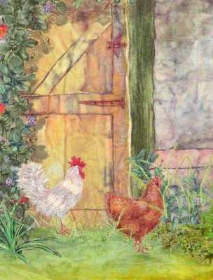 detail of art quilt with chickens by Joyce R. Becker