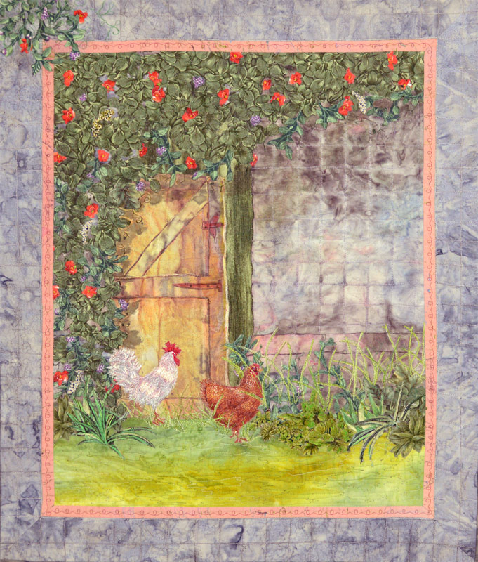 Art quilt with chickens by Joyce R. Becker