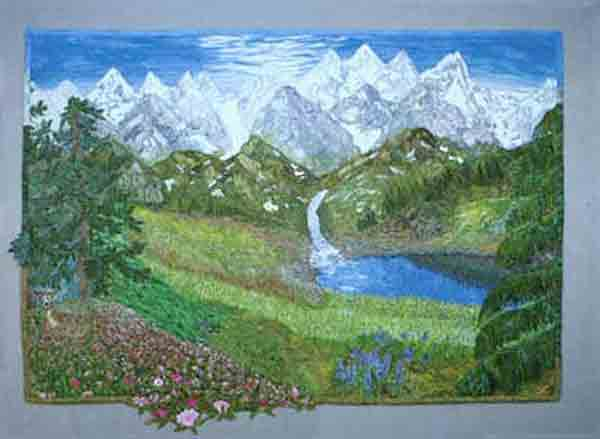 art quilt with mountains and water by Joyce R. Becker