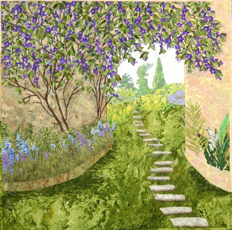 Garden style landscape art quilt