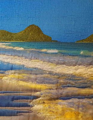 Detail of beach scene art quilt