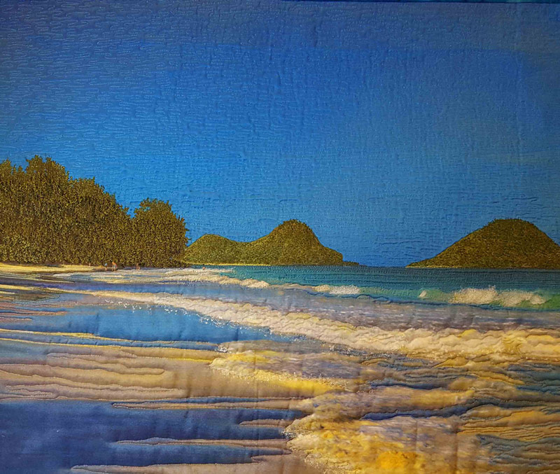 Memories of Hawaii, seascape art quilt by Joyce R. Becker