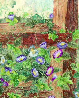Heavily machine embroidered art quilt