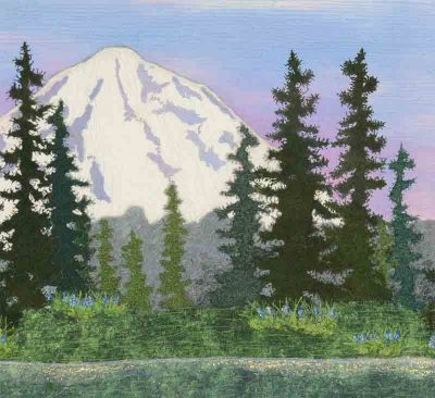 art quilt of Mt Rainier by Joyce R. Becker, detail