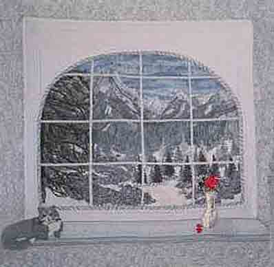 Panes of Winter, art quilt by Joyce R. Becker