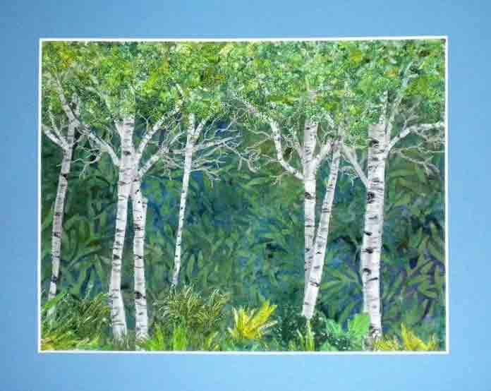 art quilt of trees