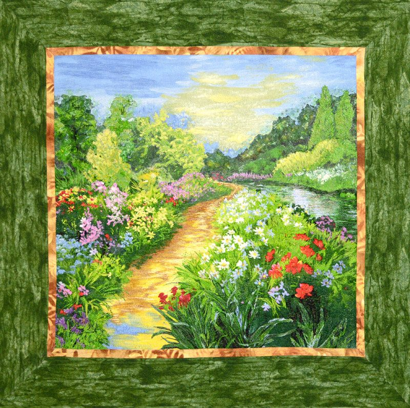 River Walk, a landscape art quilt by Joyce R. Becker