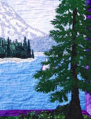 detail of Mt Rainier and Gig Harbor quilt