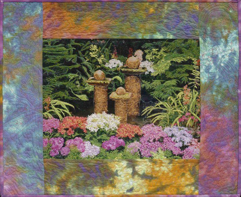 Floral landscape art quilt by Joyce R. Becker