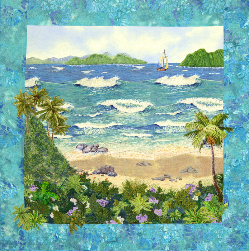 Tropical art quilt by Joyce R. Becker