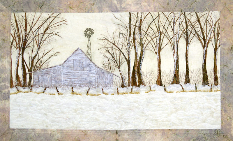 bran, fence, trees - painted art quilt